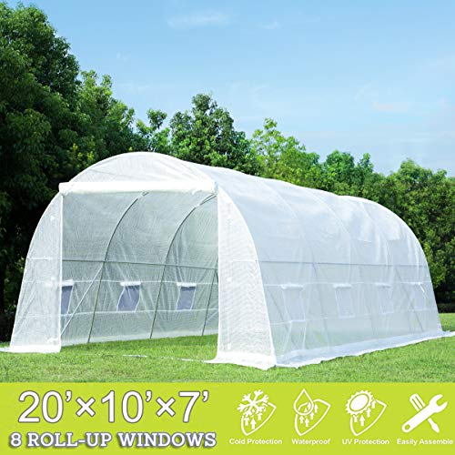 Mellcom 20' x 10' x 7' Greenhouse Large Gardening Plant Hot House Portable Walking in Tunnel Tent,...