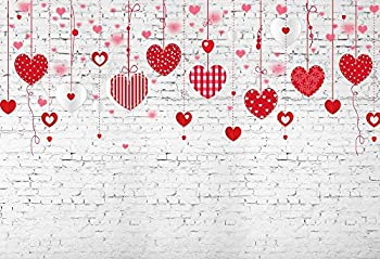 6.5x5ft Valentines Day Background Pink Red Hearts On Strings on White Brick Wall Backdrops Graphic Stylized Banners Couple Portrait Photo Studio Decorations Poster Photographic Wallpapers XT-7534