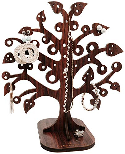 """AmberAndGrace Wooden Jewelry Organizer – 12.2"""" Multi-Functional Bracelet Holder, Necklace Stand, and Earring Tree for Women - Display Rack for Jewelry and Accessories - Decorative and Stylish"""