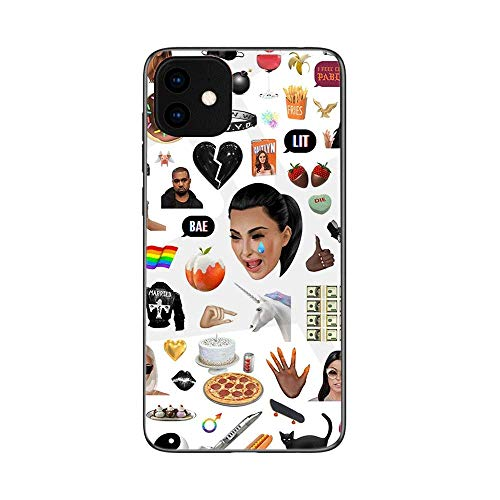 Case for iPhone 11,iPhone 11 Pro,iPhone 11 Pro Max Kim Kardashian Tempered Glass Back Cover and Soft TPU Frame Compatible (G8,for iPhone 11)