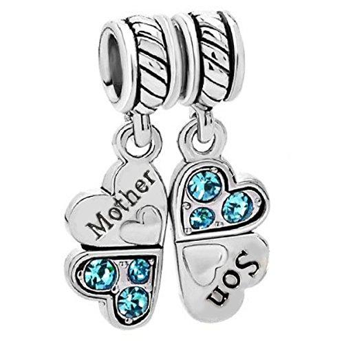Ciondolo a forma di trifoglio composto da due cuori con scritta 'Mother' (Mamma) [lingua inglese] e 'Son' (Figlio) [lingua inglese], in argento sterling, per braccialetti con charm Pandora