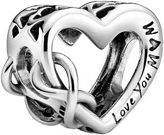 """Pandora Colgante de corazón con símbolo de infinito y texto en inglés """"Love You Mum"""", plateado, 1,14 cm, 798825C00"""