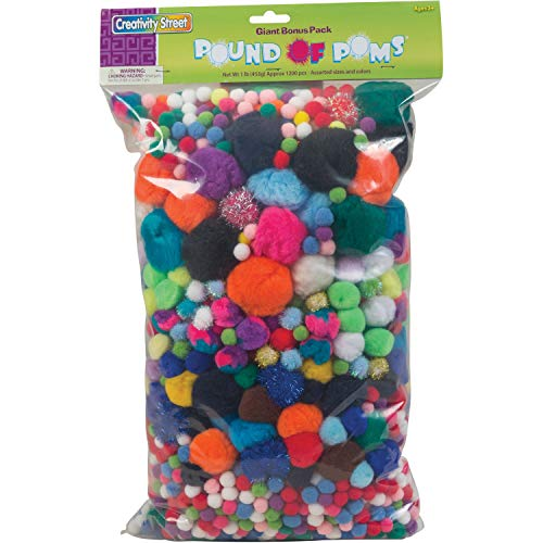 Creativity Street Acrylic Non-Toxic Pom Pon, Assorted Size, Assorted Color, Pack of 1200