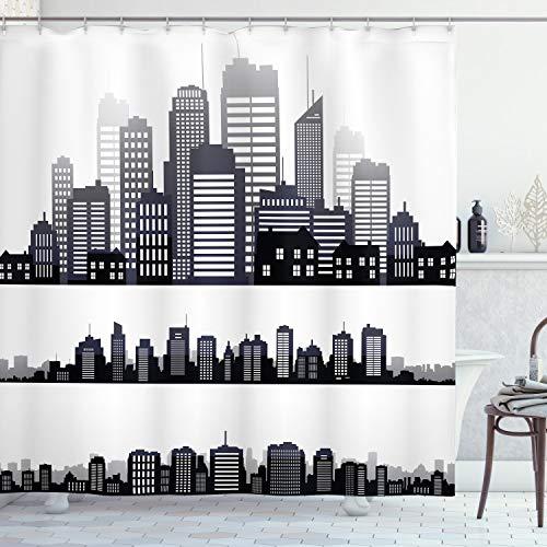 ABAKUHAUS Stadt Duschvorhang, Lange Gebäude Skyline, Digital auf Stoff Bedruckt inkl.12 Haken Farbfest Wasser Bakterie Resistent, 175 x 220 cm, Schwarz Grau Weiß