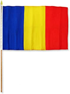 ALBATROS 12 inch x 18 inch (Pack of 12) Romania Stick Flag with Wood Staff for Home and Parades, Official Party, All Weather Indoors Outdoors