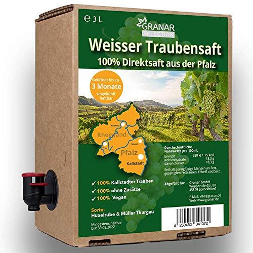 3 Liter Trauben Direktsaft weiß aus der Pfalz, 100% Traubensaft, vegan und ohne Zusätze - 1 x 3 Liter-Box