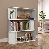 vidaXL Estantería Librería Separador Ambientes Baja Estante Libros Divisor Espacios 3 Niveles 6 Cubos Modulares Grandes y Pequeños Aglomerado Blanco
