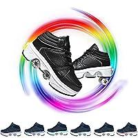女性のためのローラースケート4輪調節可能なクアッドローラースケート7色ライトアップ2-in-1多目的靴調節可能なクアッドローラースケートブーツ