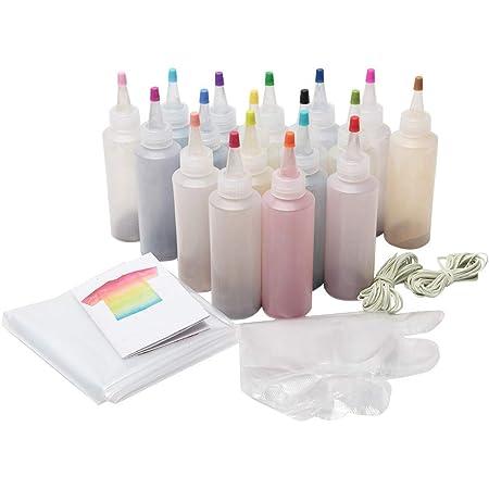 Kit de teñido anudado, kit de tinte de tulipán, tinte de tela para teñido anudado, juego de teñido anudado para niños y adultos, ropa de bricolaje (18 ...