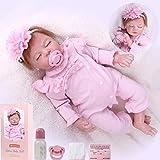 ZIYIUI Reborn Baby Girl Doll 22 Pulgadas 55 cm Vinilo de Silicona Suave Ojos Cerrados Niña Muñeca Niño Niña Juguete de Regalo