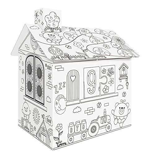 Funien Casetta di cartone,Bambini Doodle Disegno Casetta dei giochi Bambini che giocano a giocattolo con bellissimi fiori Motivo a cartoni animati carini Musica Effetti di luce colorati