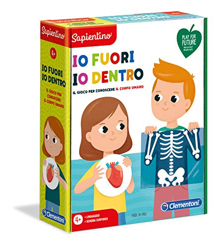 Clementoni Sapientino Io Fuori, io Dentro, gioco per imparare corpo umano, con tessere illustrate, gioco educativo 4 anni, Play For Future, Made in Italy, 16243
