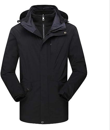 NBOMDIE Vestes pour Hommes en Plein air, Longue Section en Deux pièces, Trench-Coat matelassé Chaud pour l'hiver