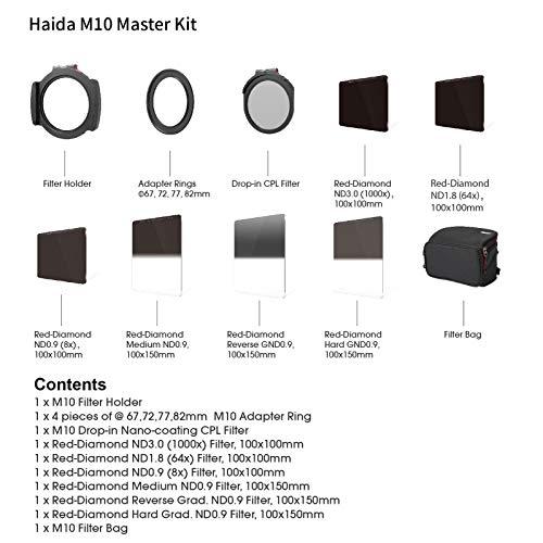 Haida Red Diamond M10 Master Kit- 7 Filter inkl. Halterungsset - inkl. Polfilter, ND 8x, 64x, 1000x, Medium , Hard , und Reverse Verlaufsfilter ND 0,9 ( 8x) Adapterringen 67, 72, 77, 82 mm, sowie der