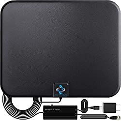 A sleek black HDTV antenna with USB cords and coaxial cable from U MUST HAVE
