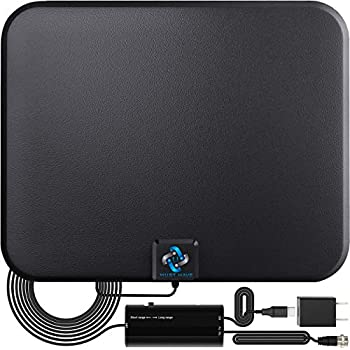 U MUST HAVE Amplified HD Digital TV Antenna Long 250+ Miles Range - Support 4K 1080p Fire tv Stick and All Older TV s - Indoor Smart Switch Amplifier Signal Booster - 18ft Coax HDTV Cable/AC Adapter