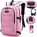 Tzowla Business Laptop Backpack Anti-Theft College Backpack with USB Charging Port and Lock 15.6 Inch Computer Backpacks for Women Men, Casual Hiking Travel Daypack (Pink)