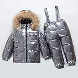 NYKK Tuta da Sci Inverno Bambini Snowsuit Caldo Impermeabile Oro Piumino + Tuta Ragazze Ski Suit 1-6 Anni bebé Argento Parka Cappotto Tuta (Color : Silver, Kid Size : 6)
