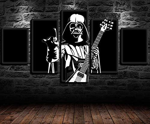 REWE Cuadros Decoracion Salon Modernos Grandes Vertical,Star Wars Black Samurai Guitar-Marco Madera_150 × 80cm,Baratos Lienzo Decorativo Vertical Pared Dormitorio Baño Impresiones en Lienzo arttor