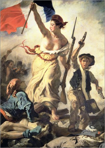 Posterlounge Acrylglasbild 60 x 80 cm: Die Freiheit führt das Volk, Detail von Eugene Delacroix/Bridgeman Images - Wandbild, Acryl Glasbild, Druck auf Acryl Glas Bild