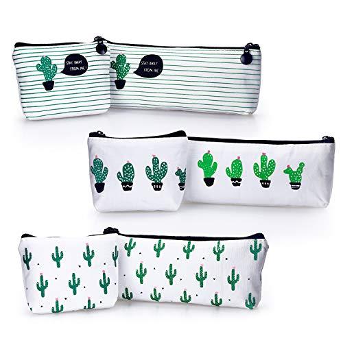 YOUSHARES 6 Packs Cactus Pencil Case Bundle – Cute Canvas Pencil Bag for Pencils & Pens or Small Makeup (6PCS)