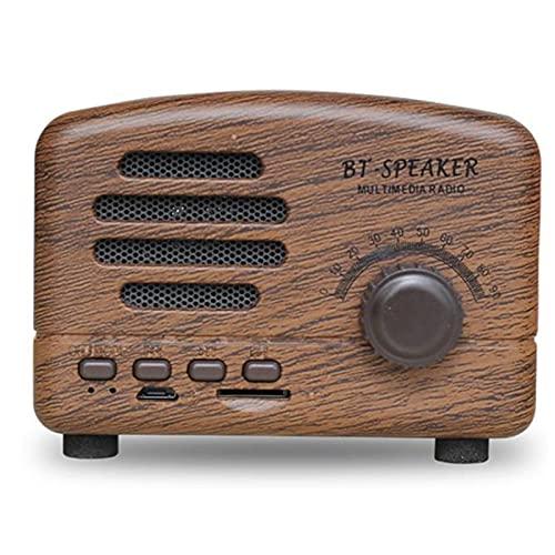 ZEIYUQI Altavoz Bluetooth de Radio Retro,Mini Subwoofer Bluetooth 4.0,Teléfono MóVil,Radio Inalámbrica,Tarjeta TF,Carga USB de FM,Lindo Altavoz,Brown