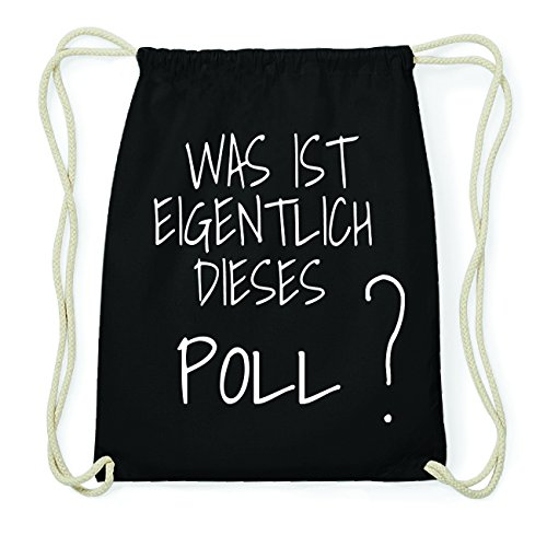 JOllify POLL Hipster Turnbeutel Tasche Rucksack aus Baumwolle - Farbe: schwarz – Design: was ist eigentlich - Farbe: schwarz