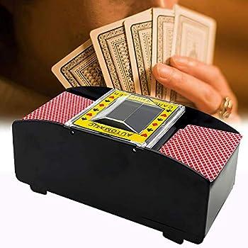 Automatic Card Shuffler Electronic Poker Shuffler Battery Operated Card Game Tool 2 Deck Card Shuffler for Poker Blackjack  Black