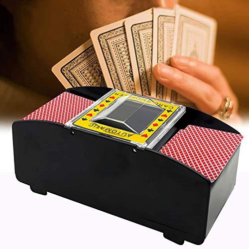 Automatic Card Shuffler Electronic Poker Shuffler Battery Operated Card Game Tool 2 Deck Card Shuffler for Poker Blackjack (Black)