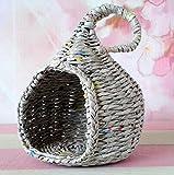 Miniature bjd Cat Hideout, Wicker Doll Pet Bed Dollhouse. Doll Companion Nest Handmade