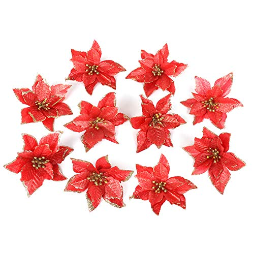 Asdomo 10Pcs Pendant Christmas Tree Decoration 13cm Glitter Colorful Flowers With Flocking for Christmas Ornaments Xmas Wedding Party Decors Red