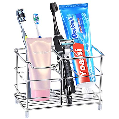 Yoassi Tooth Brush Holder, Extra-Large Stainless Steel Multi-functional Bathroom Storage Organizer Toothpaste Holder 6 Slots for Electric Toothbrush, Toothpaste, Facial Cleanser, Comb