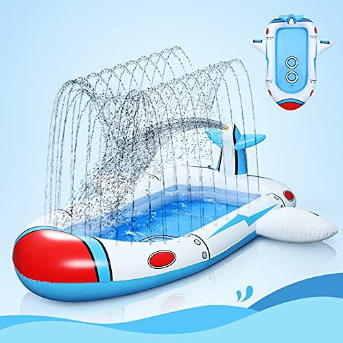 Ciskotu Planschbecken für Kinder, Raumschiff Splash Pad Planschbecken Baby, 180 cm Sprinkler Schwimmbad, Planschbecken Groß, Sommer Garten Aufblasbarer Pool, Kiddie Sprinkler Wasserspielzeug Pool