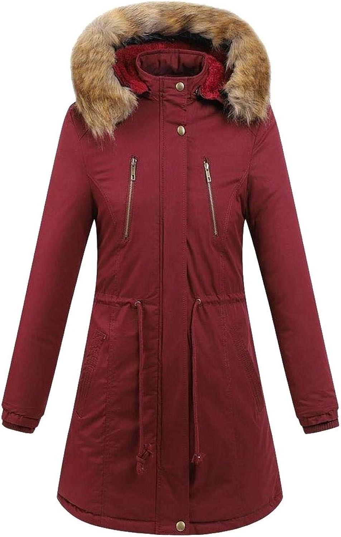 CBTLVSN Women FrontZip Winter FauxFur Collar Fleece Quilted Down Jacket Coat