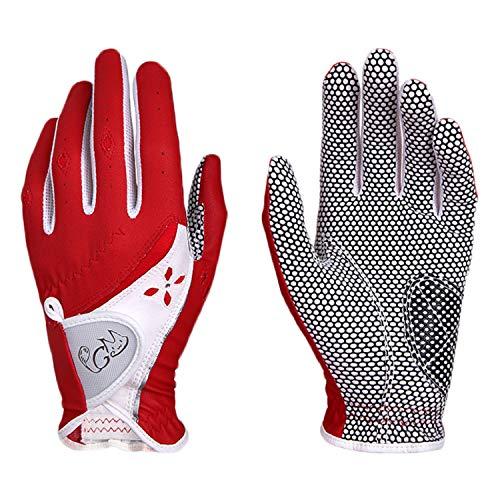 PGM Damen Golfhandschuhe, 1 Paar, verbessertes Griffsystem, cool und bequem, rot, 43 cm