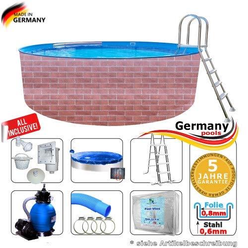 Poolset 3,6 x 1,2 m Gartenpool Rund Pool Komplettset Swimmingpool Schwimmbecken Poolbecken Rundpool Bausatz Einbaupool Ziegel Stein Rundbecken