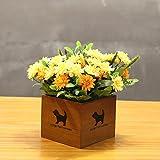 LLPXCC Flores artificiales Creativo casa floral mesa de comedor salón moderno sencillo unión flores decorativas de madera jarrones plantas flores de plástico matrimonio estudio crisantemo amarillo