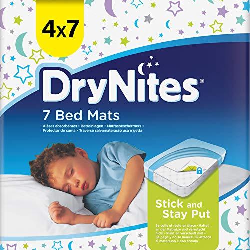 DryNites Bed Mats, Saugfähige Einweg-Betteinlagen (88 x 78 cm), Für Mädchen und Jungen ab 12 Monaten, 28 Unterlagen (4 x 7 Einheiten)
