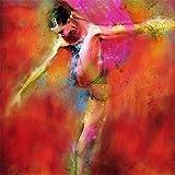 Lienzo De Impresión 60*90cm Sin Marco 100% arte de pared rojo pintado a mano, bailarina sexy española de flamenco puro Carmen en vestido rojo, impresión de baile, figura abstracta, aceite moderno