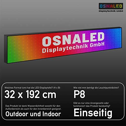 LED Vollfarbig RGB P8 (8 mm Pixelabstand) Laufschrift Lauftext Außenwerbung LEUCHTREKLAME WLAN Einseitig (32 x 192 cm)