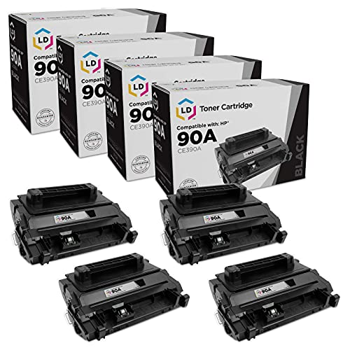 LD Compatible Toner Cartridge Replacement for HP 90A CE390A (Black, 4-Pack)