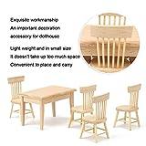 Muebles en miniatura de casa de muñecas, silla de mesa de comedor de casa de muñecas simulada, amantes de la casa de muñecas adultos amantes de la artesanía para niños(Table and chair set, blue)