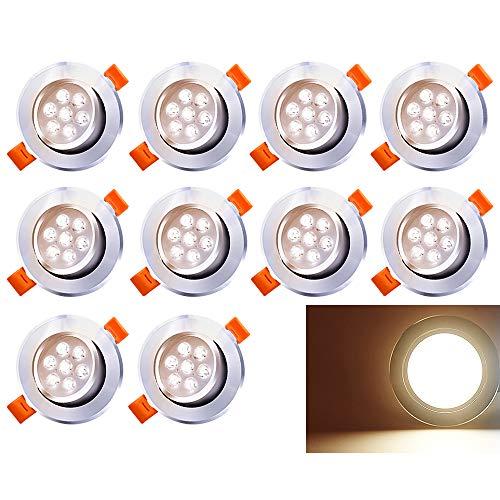 Hengda Paquete de 10 7W LED empotrada en el techo Luz regulable blanco cálido 560lm Downlights 3200K Foco para sala de estar Dormitorio Cocina Baño (equivalente a 60W)