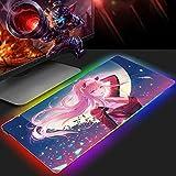 Alfombrilla de ratón Anime Girl Zero Two grande Gaming RGB, teclado XXL, ratón de goma, ratón USB, retroiluminación LED, 800 x 400 mm