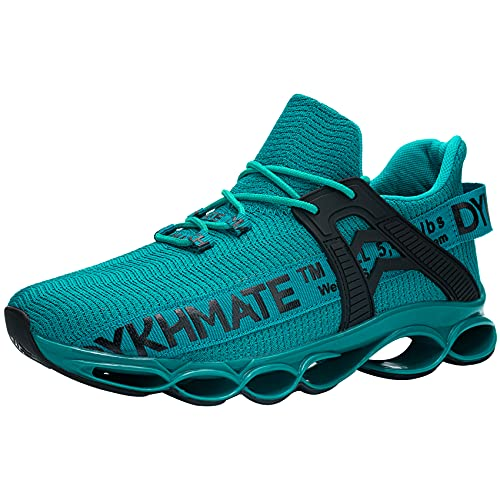 DYKHMATE Zapatillas de Deporte Hombres Mujer Running Zapatos para Correr Antishock Gimnasio Sneakers Deportivas Transpirables (Verde,43 EU)