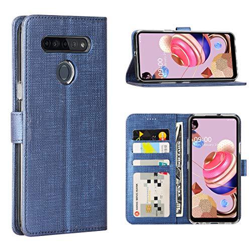 FUNMAX+ LG K51S Hülle, PU Leder Handyhülle mit 3 Kartenfächer, Schutzhülle Hülle Tasche Magnetverschluss Flip Cover Stoßfest für LG K51S Smartphone (Blau)