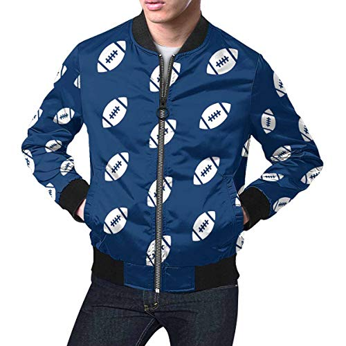 INTERESTPRINT Men's Stand Collar Short Bomber Jacket Coat Rugby Ball American Football Blue 4XL