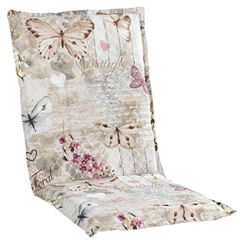 Sesselauflage Sitzpolster Gartenstuhlauflage für Mittellehner | 50 cm x 110 cm | Natur | Schmetterlinge | Baumwolle | Polyester
