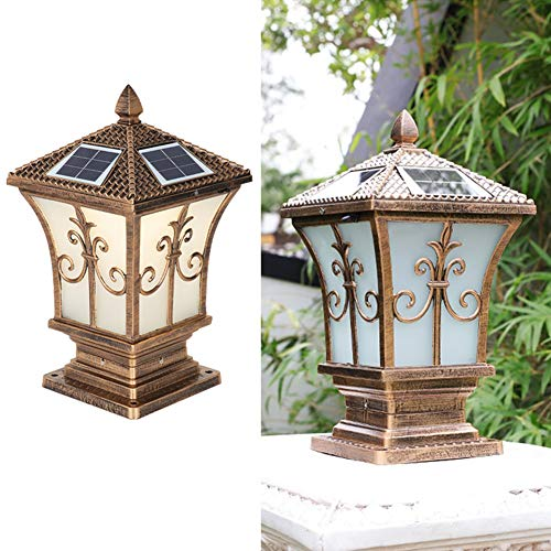 TY-ZWJ Solar Outdoor Pillar Lamp, Garden Solar Lamp LED European Style Solar Pillar Lamp Decoration Waterproof Wall Door Pillar Landscape Solar Lamp,Bronze