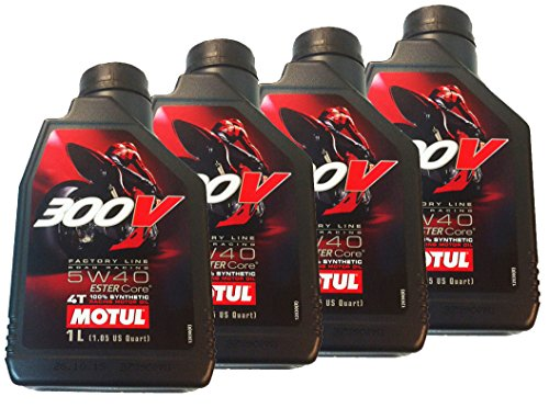 Aanbieding 4 liter motorolie MOTUL 300V 5W40 4T FACTORY LINE ESTER 1 liter 100% synthetisch